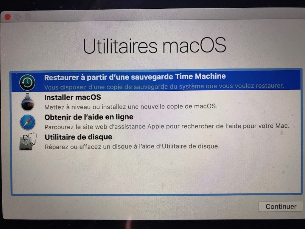 restaurer ancien systeme mac avec Time Machine downgrade