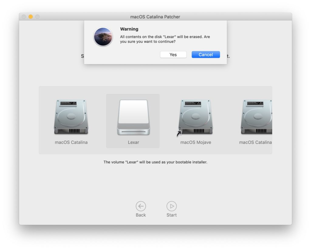 creer boot installer catalina patch