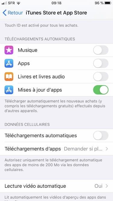 Mise a jour des apps sous iOS 13 automatique