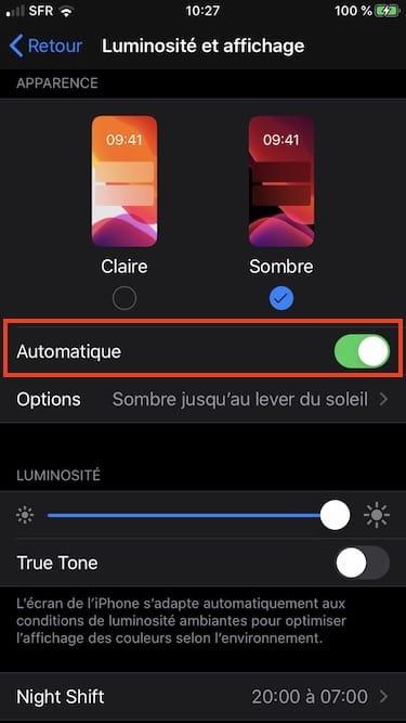 activer mode sombre automatique ios 13