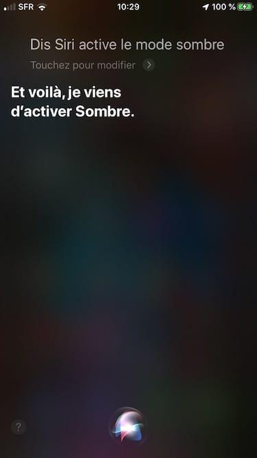 activer mode sombre avec Siri