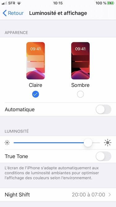 apparence claire ios13