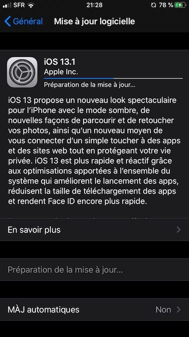 download ios 13.1 telechargement en cours