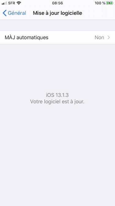 iOS 13.1.3 votre logiciel est a jour