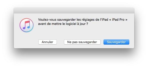 iPadOS 13.1.2 maj avec iTunes et sauvegarde