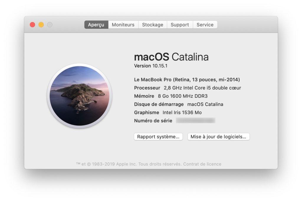 mac OS Catalina 10.15.1 telechargement