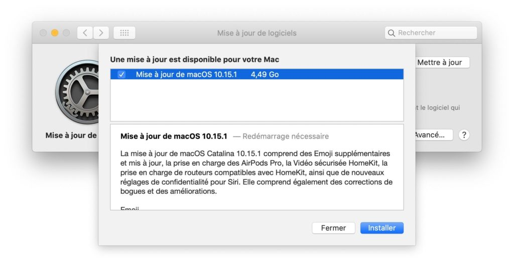 mise a jour macOS Catalina 10.15.1
