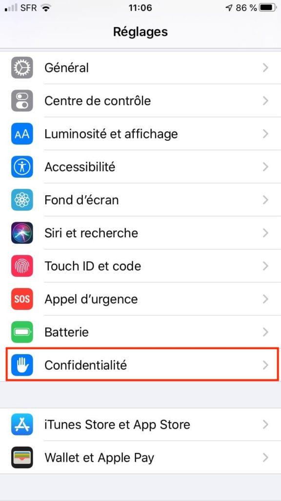 Afficher tous vos deplacements sur iPhone menu Reglages et Confidentialite