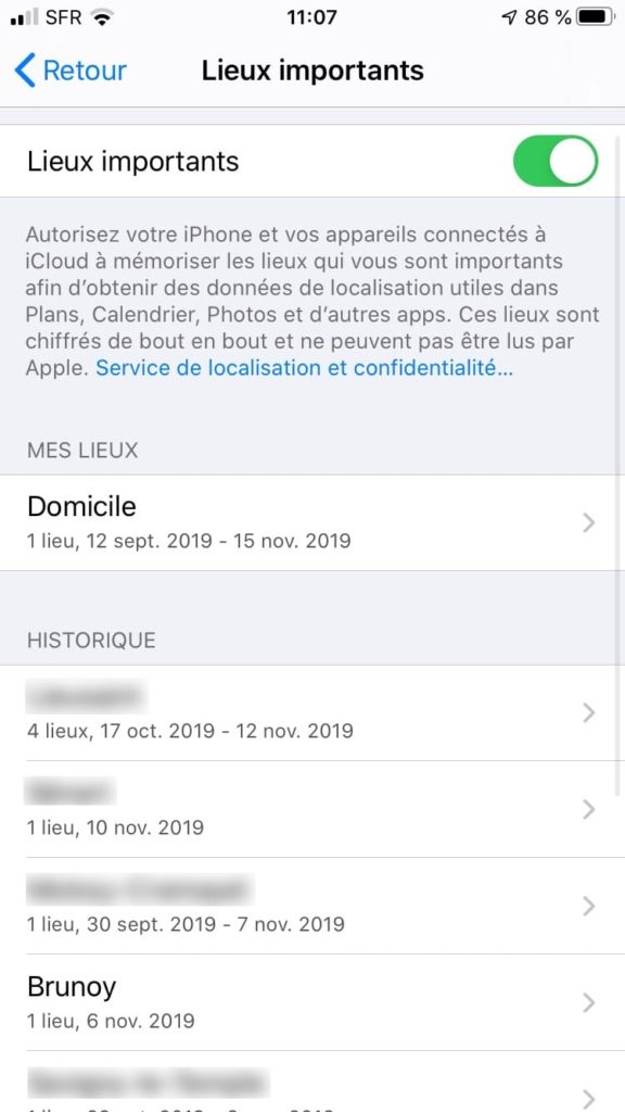 Liste lieux important iphone ios 13