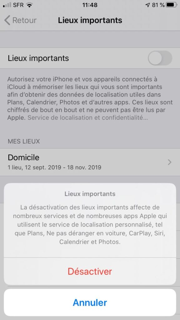 desactiver lieux importants iPhone