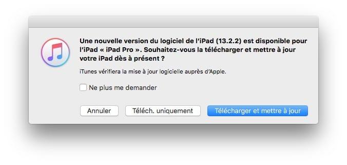 iPadOS 13.2.2 update avec iTunes