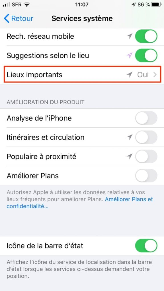 iPhone Lieux importants suivi de vos deplacements