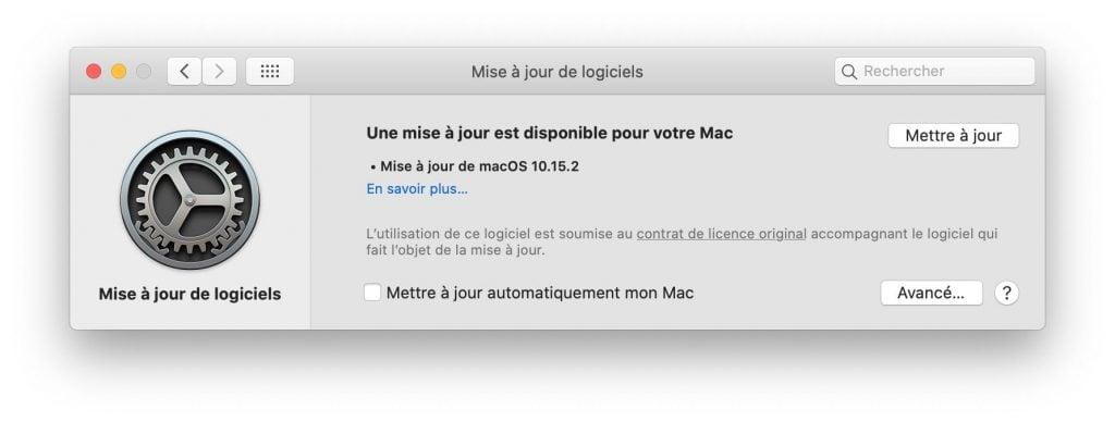 catalina 10.15.2 une mise à jour est disponible pour votre Mac
