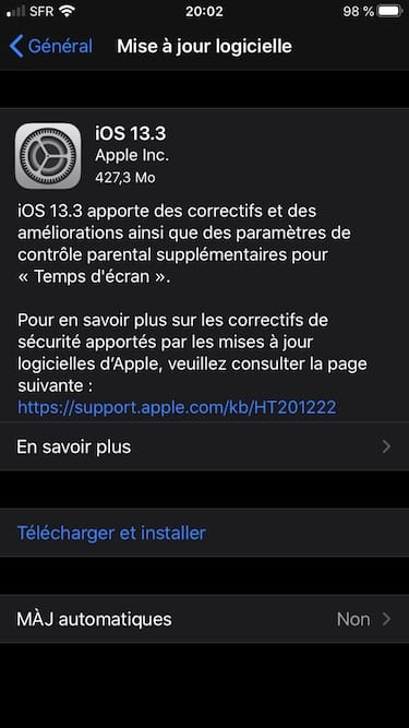 iOS 13.3 update disponible