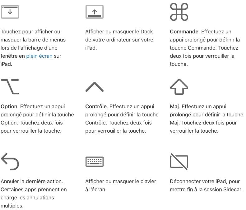 liste commandes barre laterale iPad sidecar