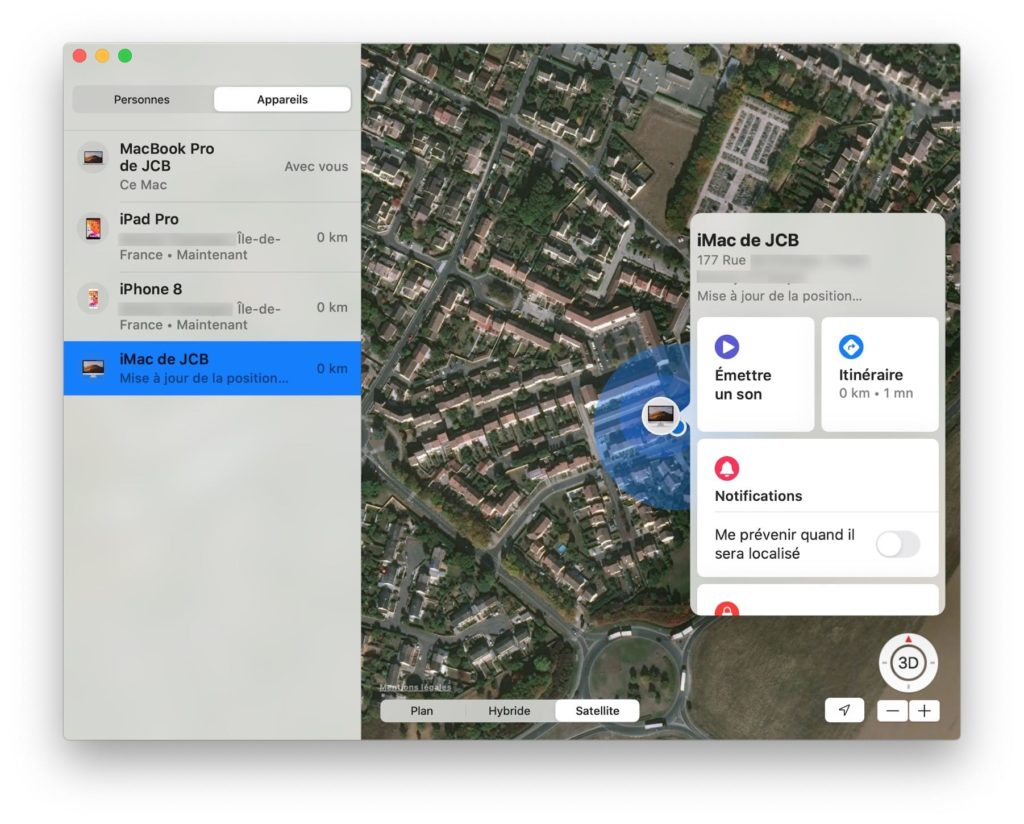 localiser son iphone emettre un son itineraire