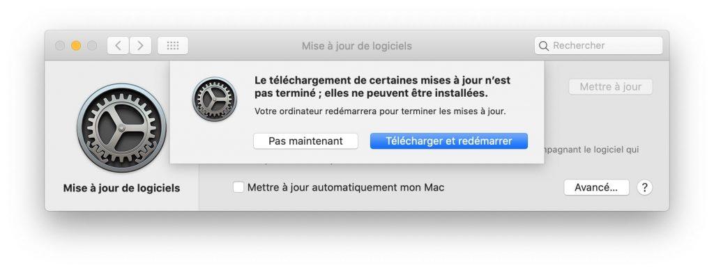 macos 10.15.2 telecharger et redemarrer