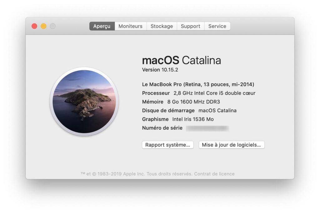 macos catalina 10.15.2 a propos de ce mac