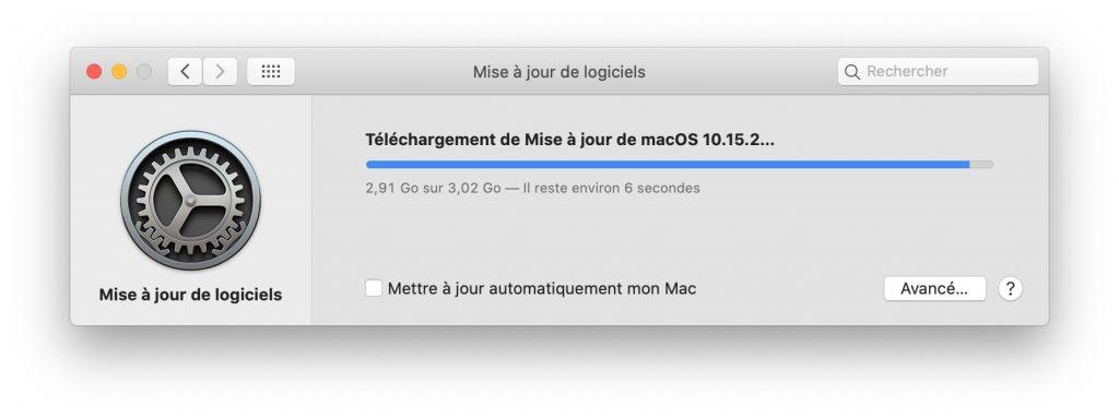 macos catalina 10.15.2 telechargement de mise a jour