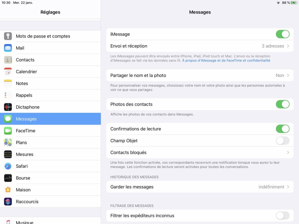 Desactiver Messages sur iPad