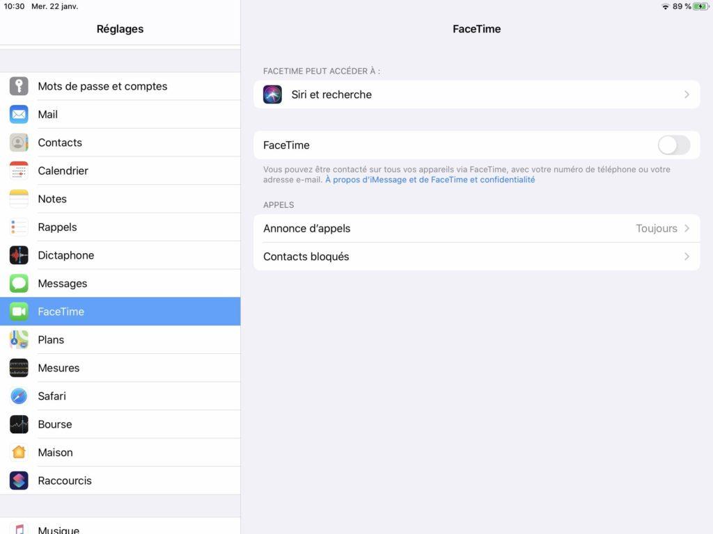 Desactiver appels Facetime sur iPad