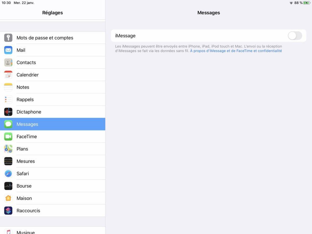 Desactiver iMessages sur iPad