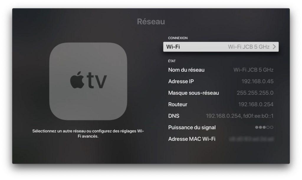 Faire une capture d'écran sur Apple TV 4K reseau wifi