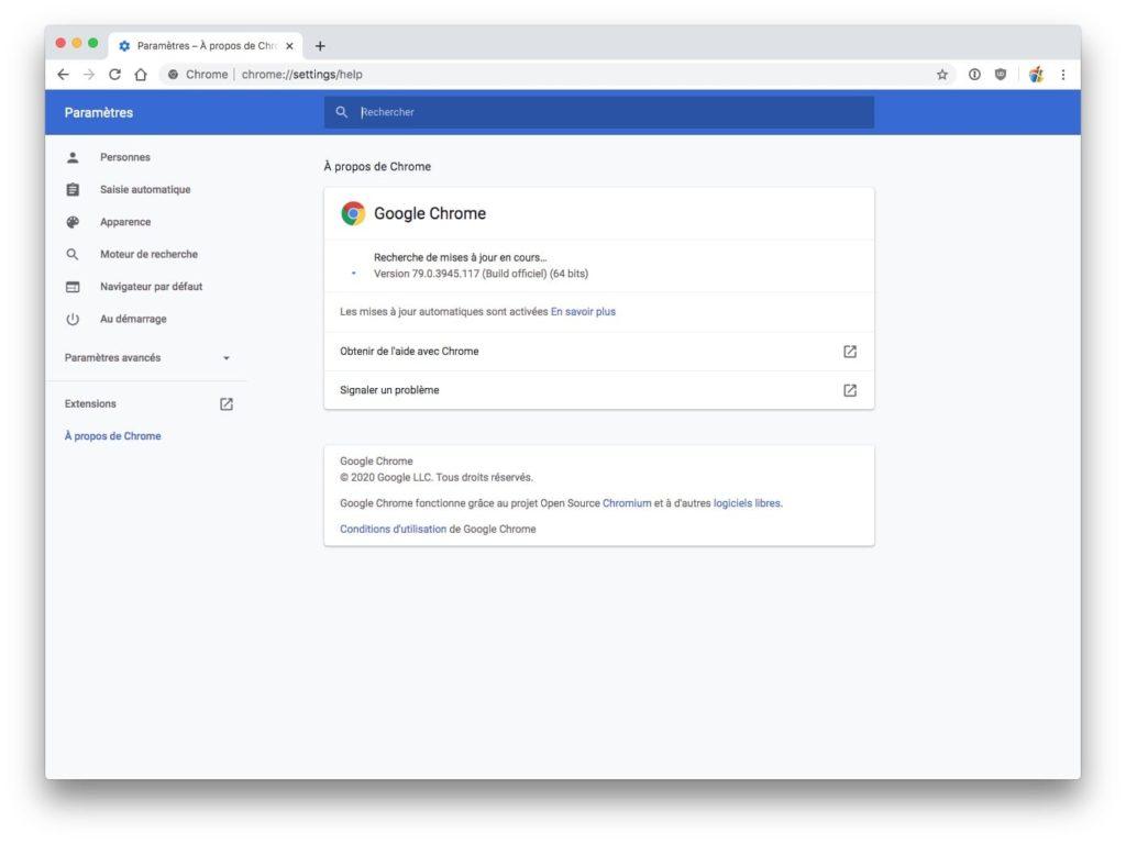 Mettre a jour Google Chrome Mac Recherche des mises a jour en cours