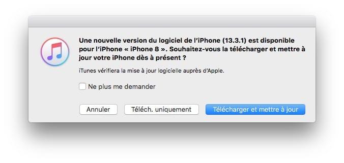 iOS 13.3.1 et iPad OS 13.3.1 maj iTunes