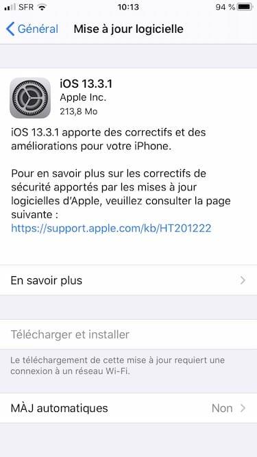 iOS 13.3.1 maj OTA