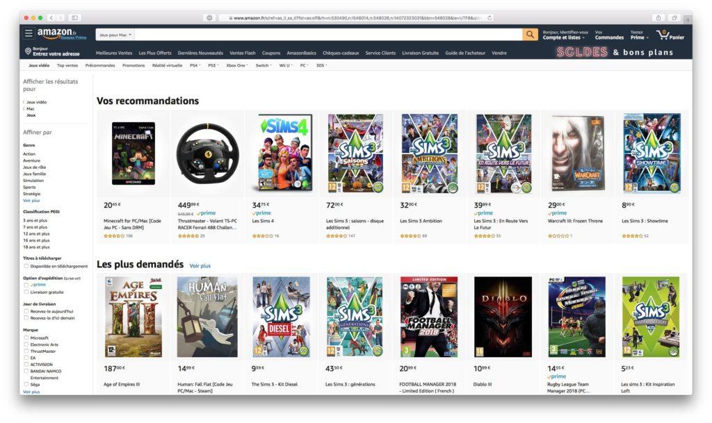 jeux pour Mac Amazon