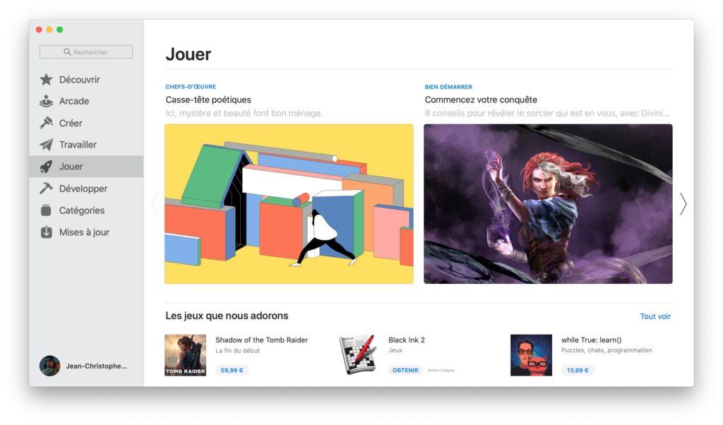 jouer sur mac app store