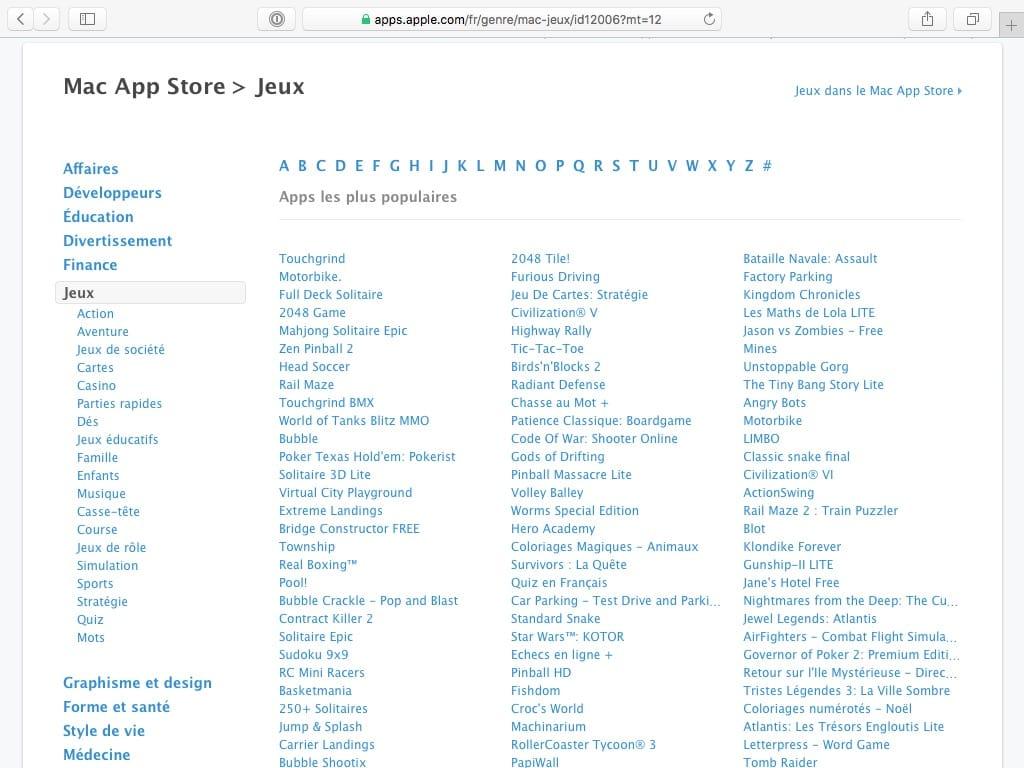 jouer sur mac liste jeux mac app store
