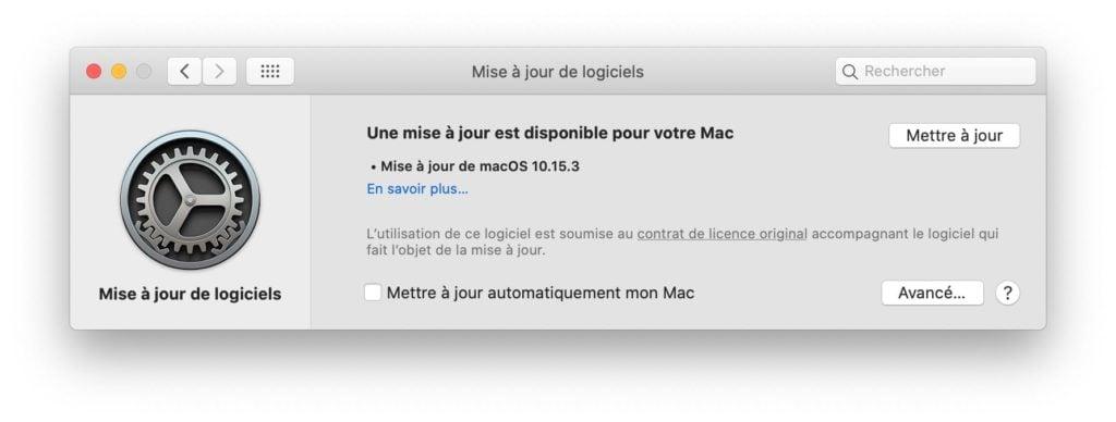 macOS Catalina 10.15.3 une mise a jour est disponible pour votre mac