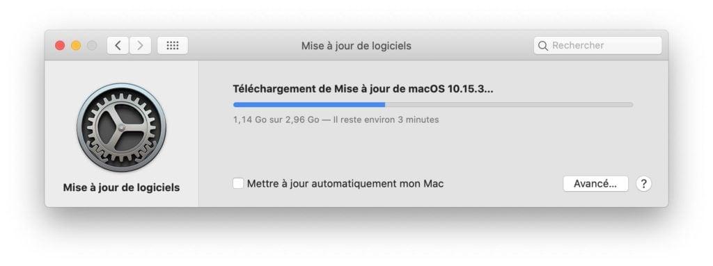 macOS catalina 10.15.3 telechargement en cours