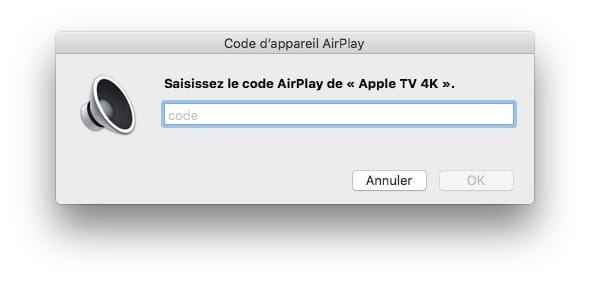 saisissez le code AirPlay Apple TV 4K