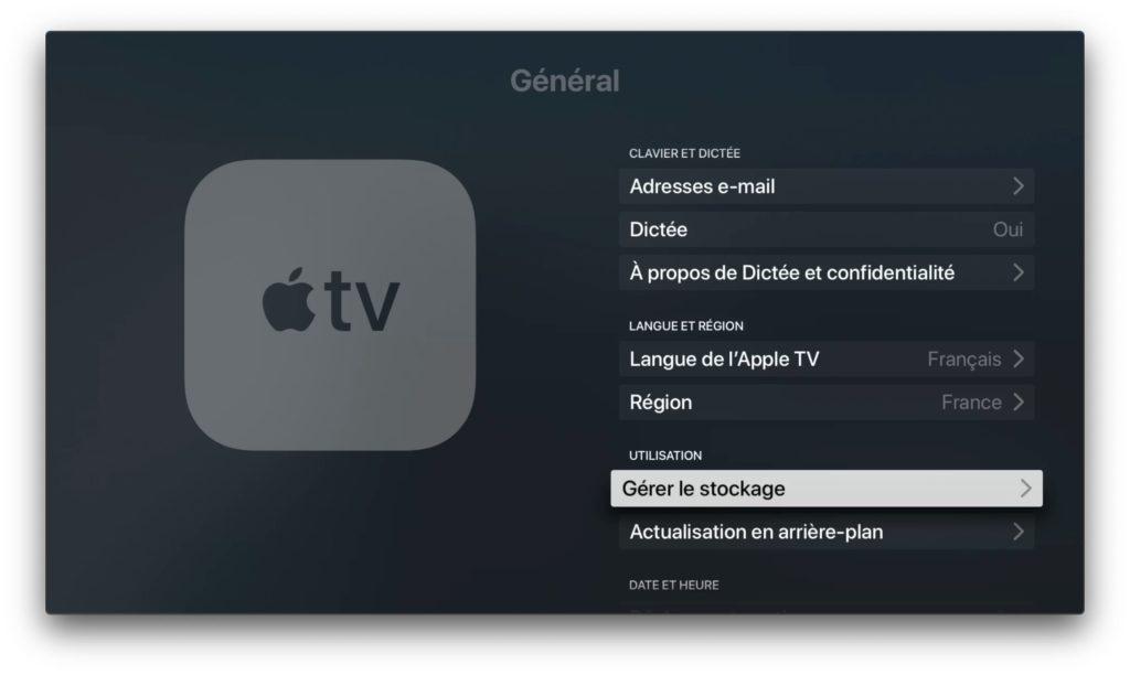 Copier une video sur Apple TV verifier stockage