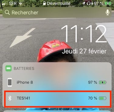 affichage widget batterie bluetooth sur iphone ipad ipod