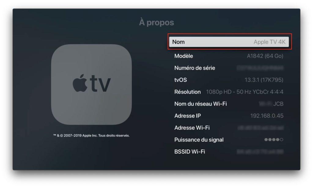 changer nom Apple TV 4k