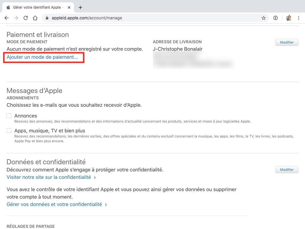 Ajouter un mode de paiement Apple pour Windows