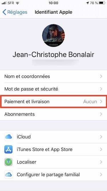 Ajouter un mode de paiement sur iPhone