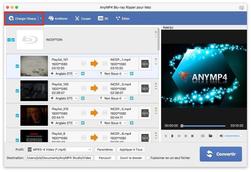 Ripper un Blu-ray sur Mac avec AnyMP4 blur-ray ripper