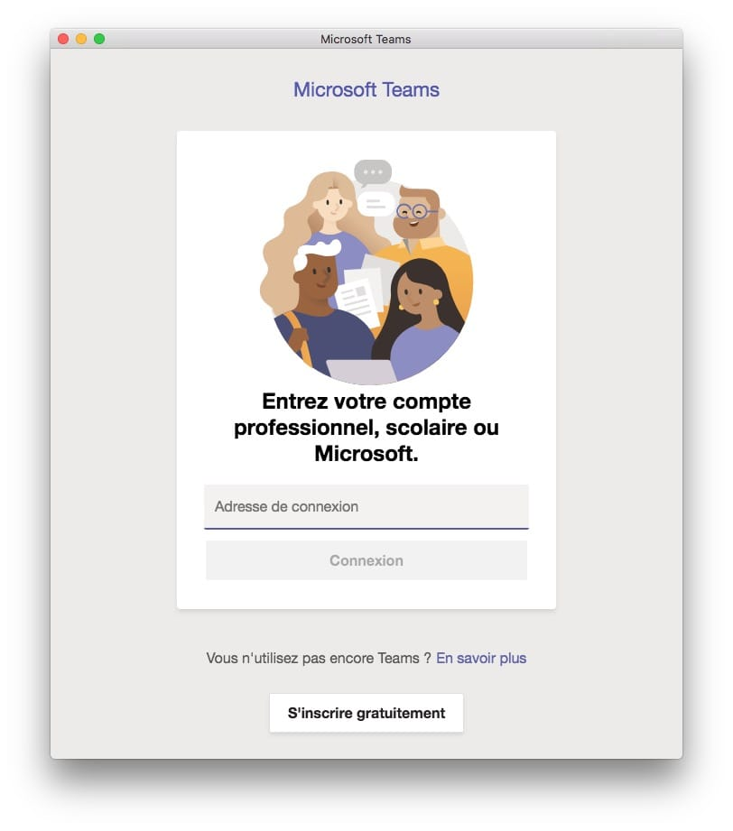 adresse de connexion microsoft teams