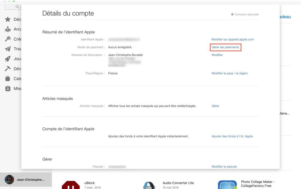 ajouter mode de paiement pour Apple