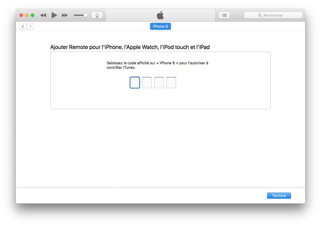 ajouter remote iphone pour controler itunes