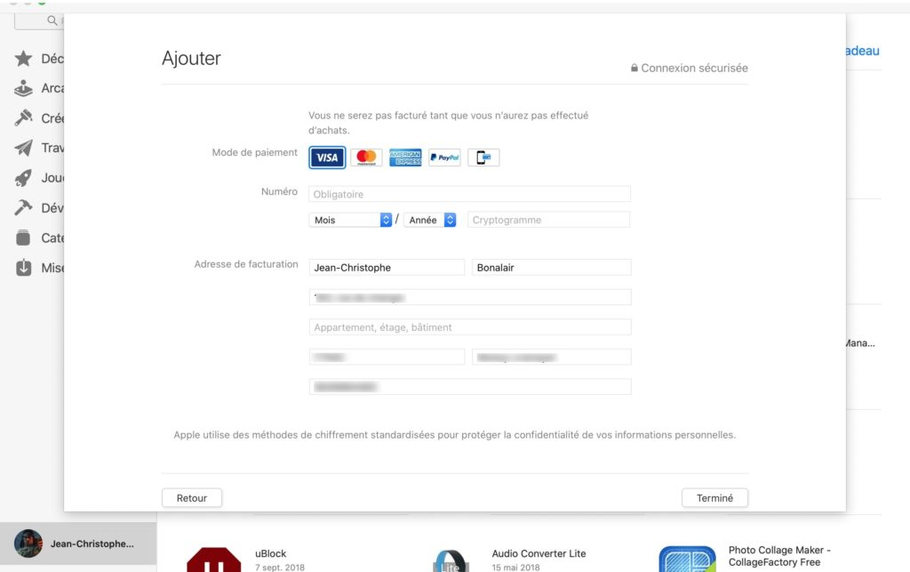 ajouter visa paypal mastercard compte apple