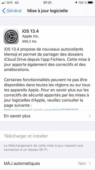 ios 13.4 mise a jour logicielle iphone