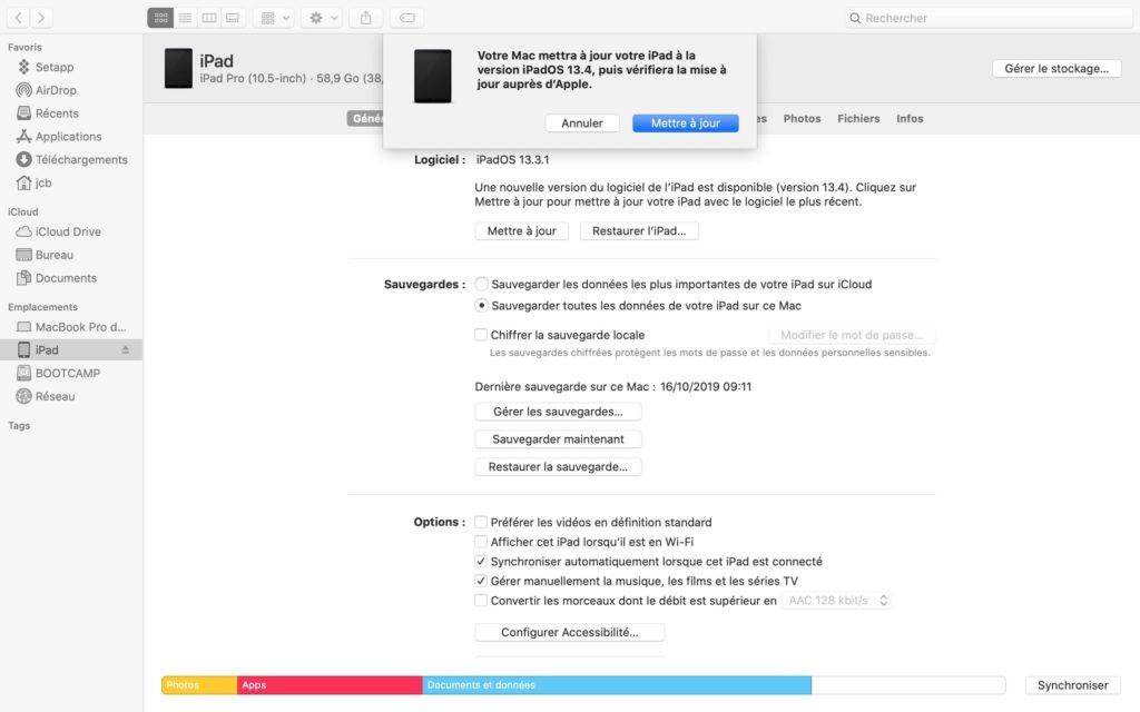 ipados 13.4 update en cours