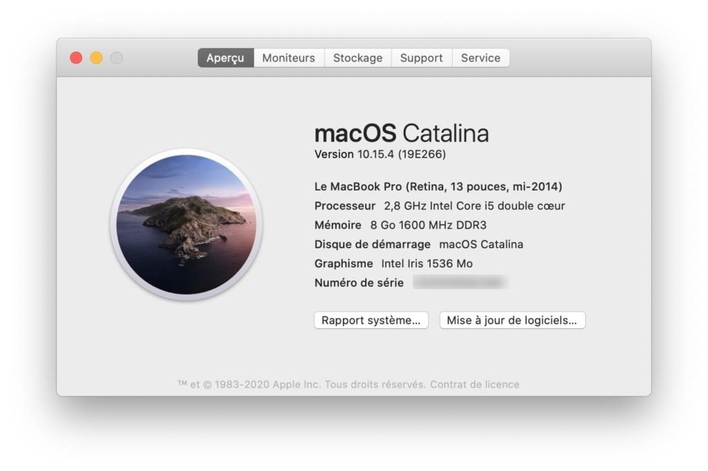 macOS Catalina 10.15.4 a propos de ce mac