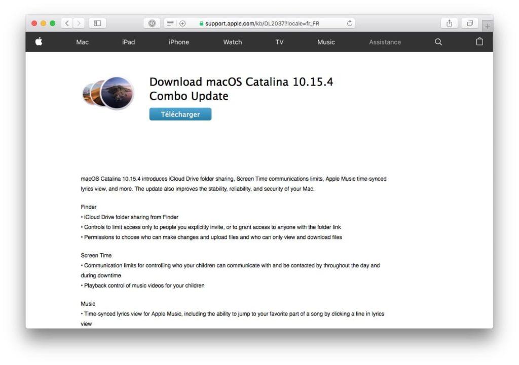 macOS Catalina 10.15.4 combo